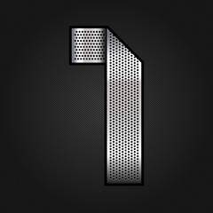 Number metal chrome ribbon - 1 - one