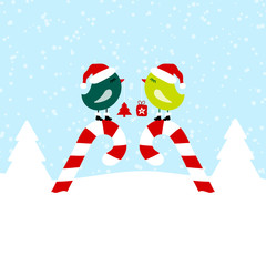 2 Green Birds On Candy Canes Blue