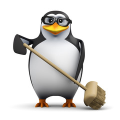 3d Penguin in glasses sweeps with a broom