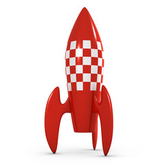 3d Retro space rocket points to the sky