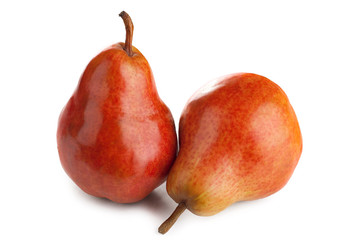 Two ripe juicy pears on a white background