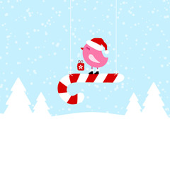Pink Bird On Hanging Candy Cane Blue