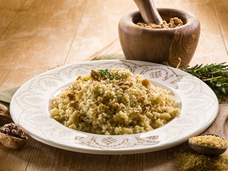 bulgur with nuts and herbs, vegetarian food