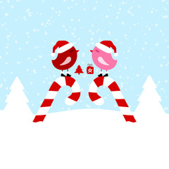 2 Pink Birds On Candy Canes Blue