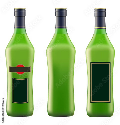 green bottle of vermouth martini
