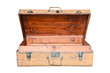 Vintage brown wood suitcase isolated