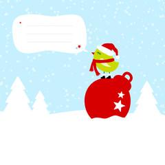 Green Bird On Christmas Ball Speech Bubble Blue