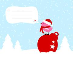 Pink Bird On Christmas Ball Speech Bubble Blue