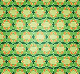 Green Starry Flower Seamless Pattern