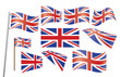 set of Union Jack flags vector illustration
