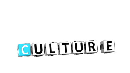 3D Culture Focus Crossword cube words on white background