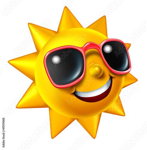 Leinwanddruck Bild Smiling Summer Sun Character