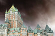 View of old Quebec and the Chateau Frontenac with Dramatic Sky,
