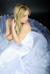 beautiful girl in white gown