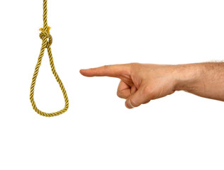 Hand showing hangman knot