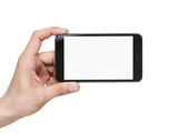 Human hand holding blank mobile smart phone with clipping path f
