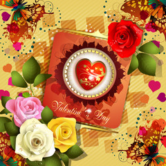 Valentine's day card with butterflies and roses