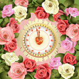 Clock design with Valentine's day theme and roses