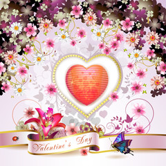 Valentine's day card with heart and flowers