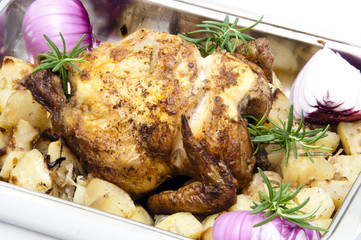 roast chicken with patatoes