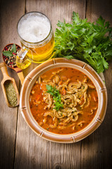 Polish traditional  tripe soup