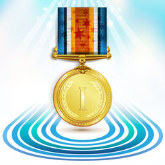 Gold medal with ribbon on white