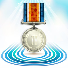 Silver medal with ribbon on white