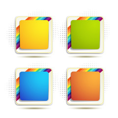 Square backgrounds with rainbow on white