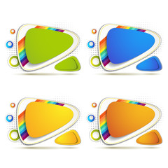 Colored backgrounds with rainbow on white