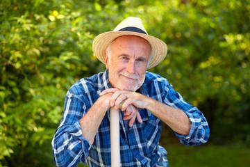 Senior gardener, contented