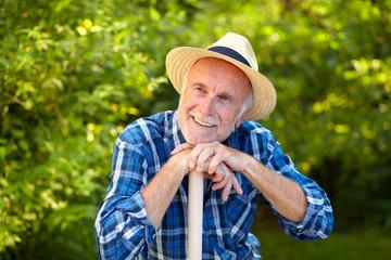 Senior gardener, dreaming