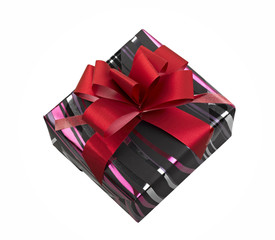Single gift box with red ribbon on white background.