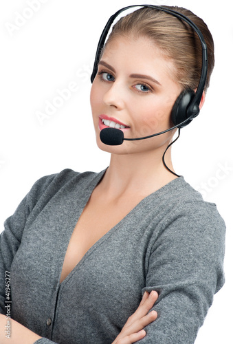 Female call center employee