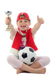 Happy kid girl believe for championship of Polish football team poster