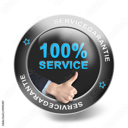 100% Service - metallic button