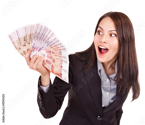 Woman with  Russian rouble money.