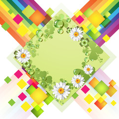Abstract green background with flowers and rainbow
