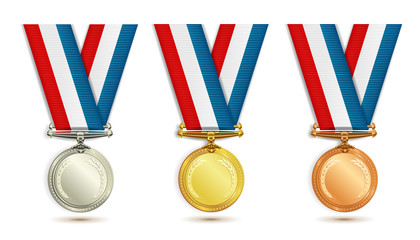 Set of gold, silver and bronze medals with ribbon