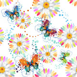 Seamless pattern with colored butterflies and flowers