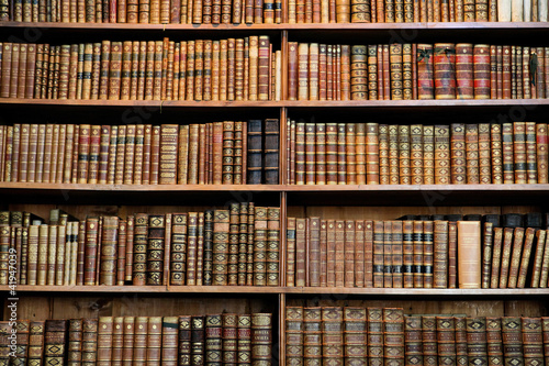 canvas print picture Antique book racks in an old library in Vienna