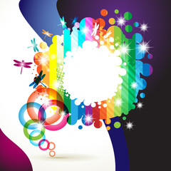 Colorful background with colored circles and dragonfly