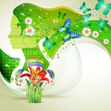 Stylized green portrait with butterflies and flowers