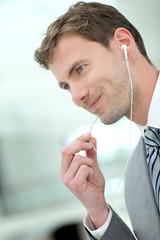 Businessman talking on the phone with handfree headset