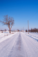 road covered by the snow
