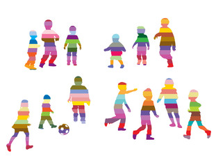 Children silhouettes made of colorful stripes