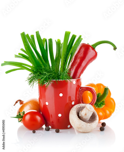 fresh vegetables with green leaves isolated on white background