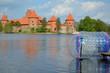 Zorbing on water near Trakai castle Galve lake