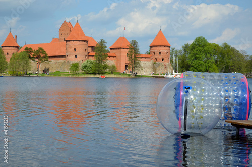 Zorbing on water near Trakai castle Galve lake
