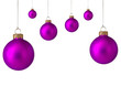 Several purple christmas baubles