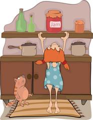The girl, jam and a cat cartoon